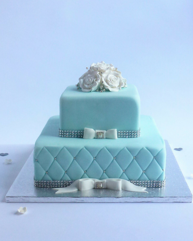2 Tier Square Tiffany Blue Cake Karen S Cakes