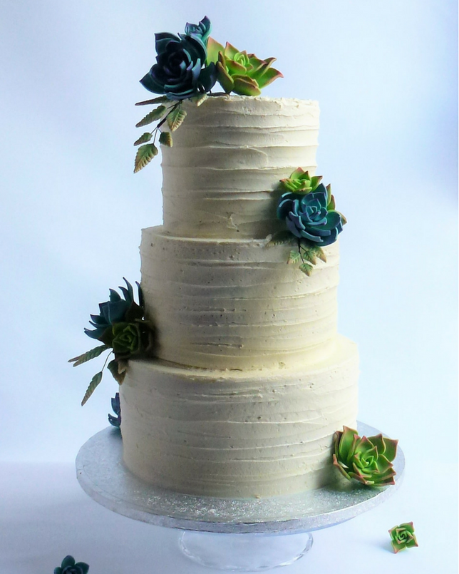 Buttercreamed Wedding Cake With Sugar Succulants Karen S
