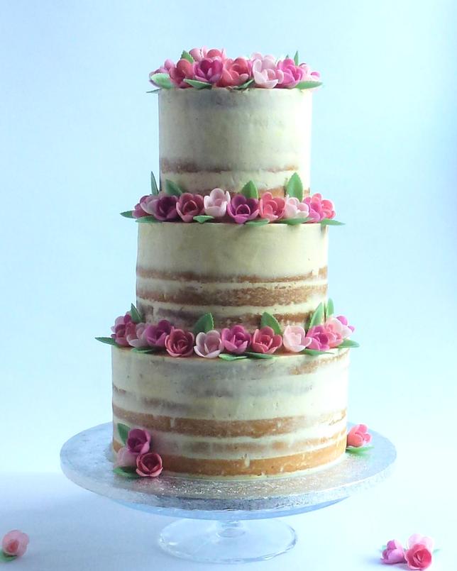 Semi-Naked Wedding Cake With Wafer Roses