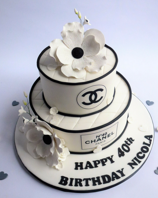 Chanel Cake Ideas: 2 Tier Round Classic Chanel Cake