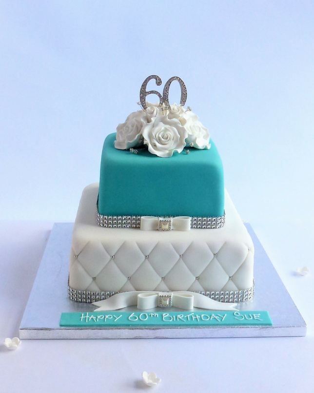 2 Tier Square Tiffany Blue Cake Karens Cakes