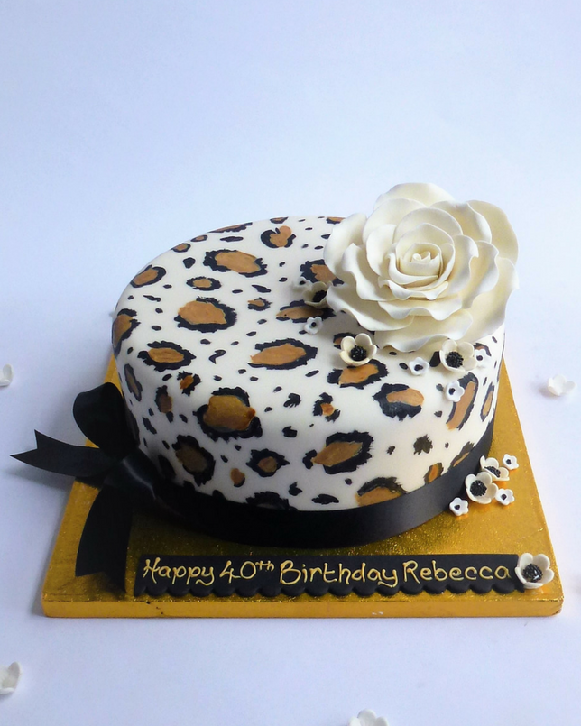 Hand Painted Leopard Print Cake