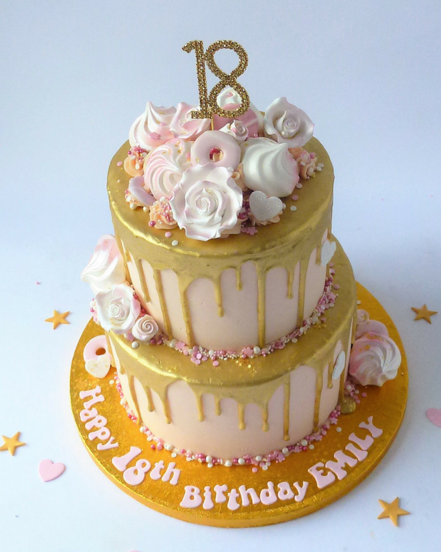 Lilac Drip Cake With Gold Cake Topper