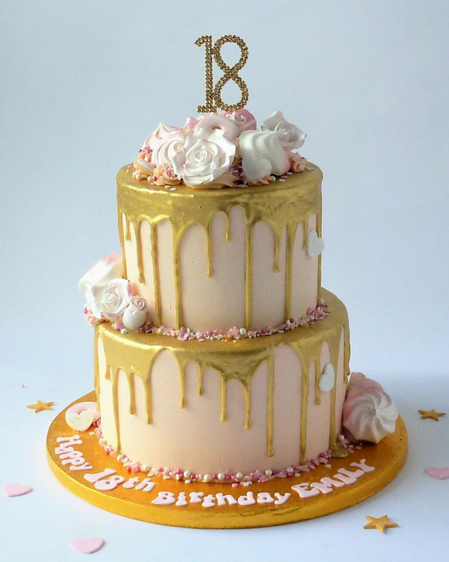 2 tier White Chocolate with gold drip Scandalous | Karen's ...